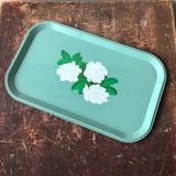 Vintage Turquoise Floral Metal Tray (new old stock)