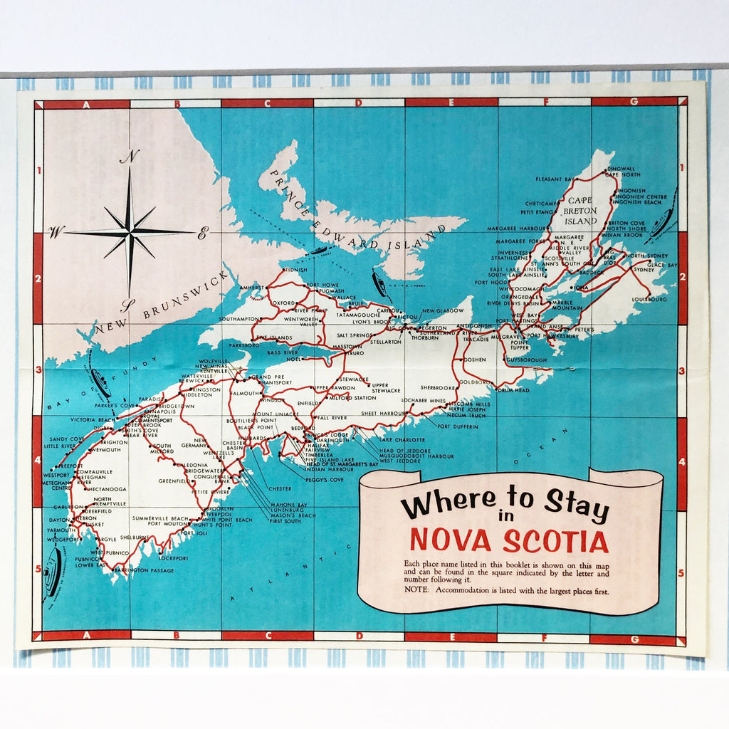 1960s Where to Stay in Nova Scotia Map – What These Old Things NS