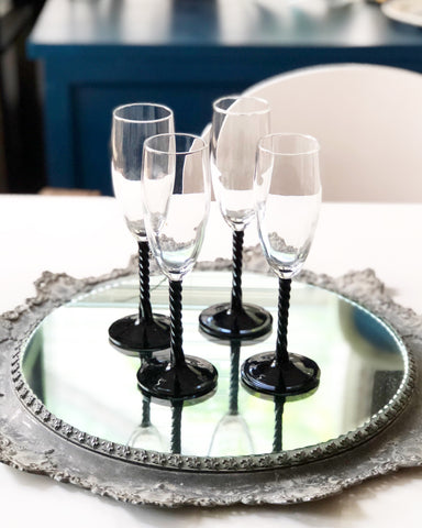 Set of 4 Black Amethyst Glass Champagne Flutes