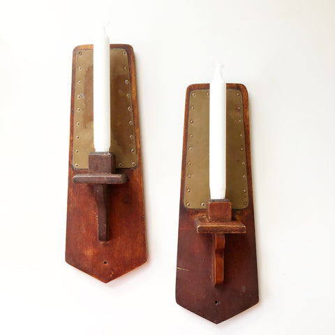 1934 Wood & Copper Sconces