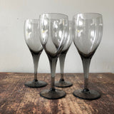 Set of 4 Small Smoky Grey Wine Glasses