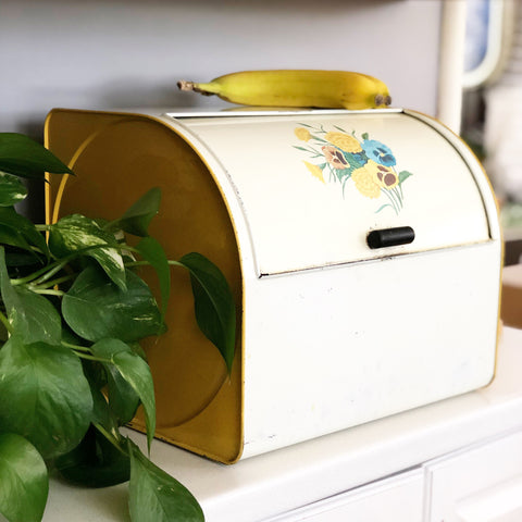 Yellow Metal Floral GSW Breadbox