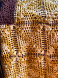 Large Brown and Yellow Crocheted Blanket