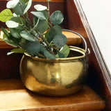 Large vintage brass cauldron
