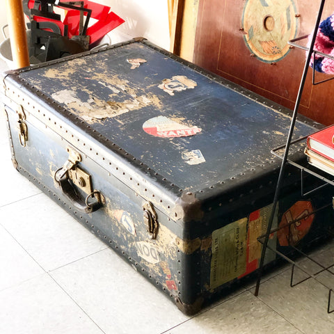Blue Half Sized Vintage Trunk