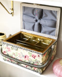 Floral w Grey Sewing Basket