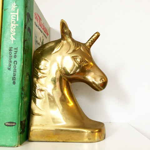 Set of Brass Unicorn Bookends