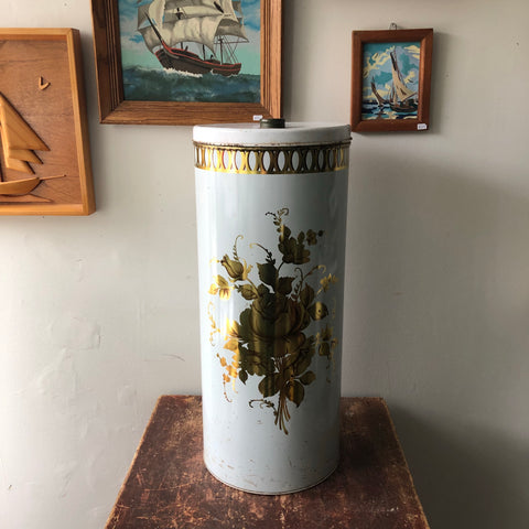 Huge Vintage Metal Decoware Tin with Lid
