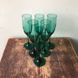 Vintage Emerald Glass Champagne Flutes Set of 6