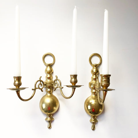 Heavy Brass Candle Sconce Set