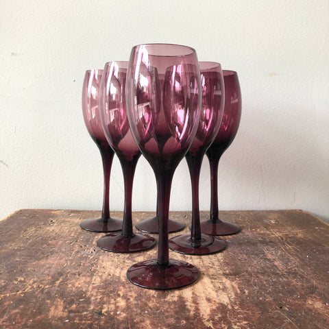 Vintage Smoky Violet Wine Glasses Set of 6
