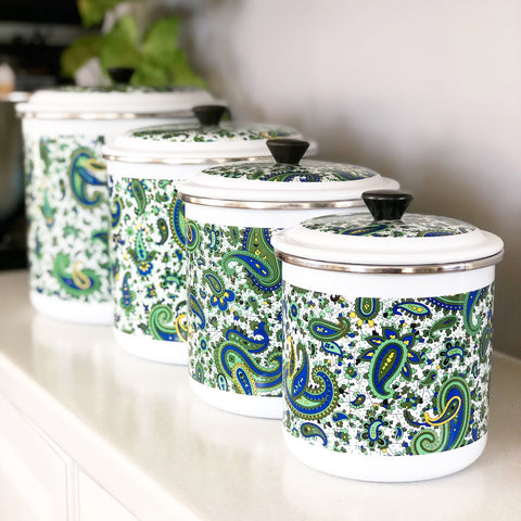 Set of 4 Retro Enamel Paisley Canisters