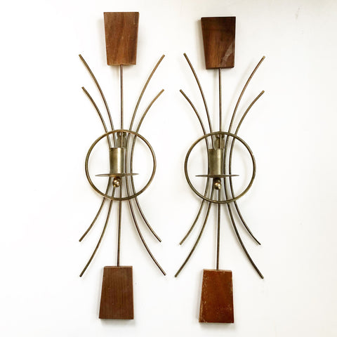Mid Century Brass & Teak Candle Sconces