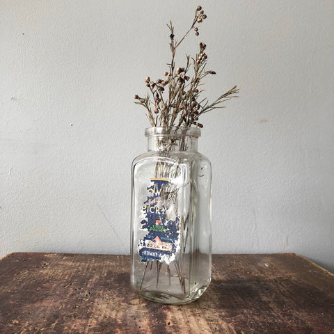 Vintage Rowat Glass Bottle Blue Label