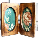 Folding Wooden Double Photo Frame
