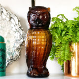Amber Glass Owl Decanter