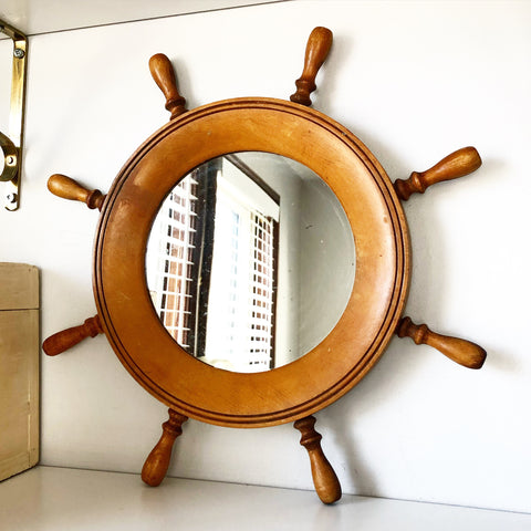Wooden Ships Wheel Mirror