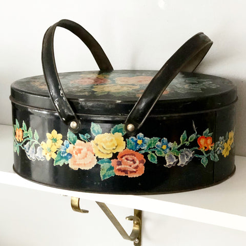 Vintage Metal Floral Basket w Handles and Removable Lid