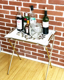 Vintage Hollywood Gold & White Folding Tray Table