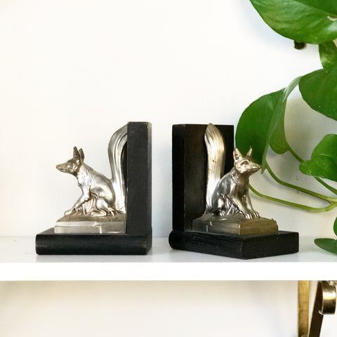 German Metal Fox Bookends