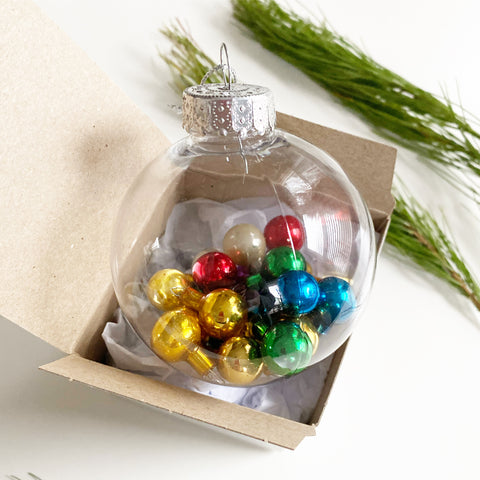 Clear Ornament with Vintage Mini Bulbs Inside