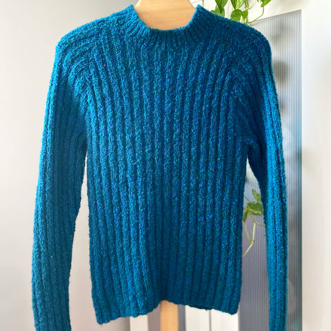 Teal Hand Knit Pullover Sweater