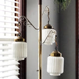Vintage Tension Pole Lamp with Glass Shades