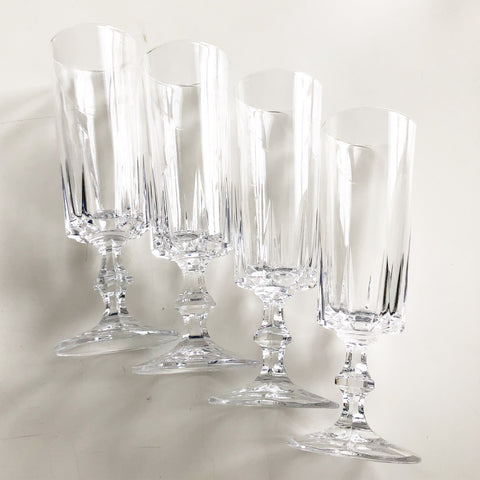 Set of 4 Vintage Crystal Champagne Flutes