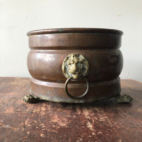 Antique Copper & Brass Lion's Head Planter made in Holland