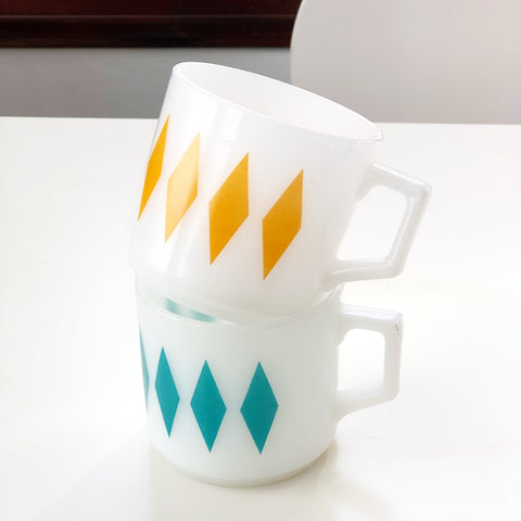 Set of 2 Retro Fire King Mugs