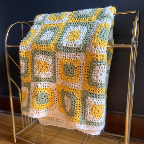 Large Yellow, Green and Cream Crocheted Blanket