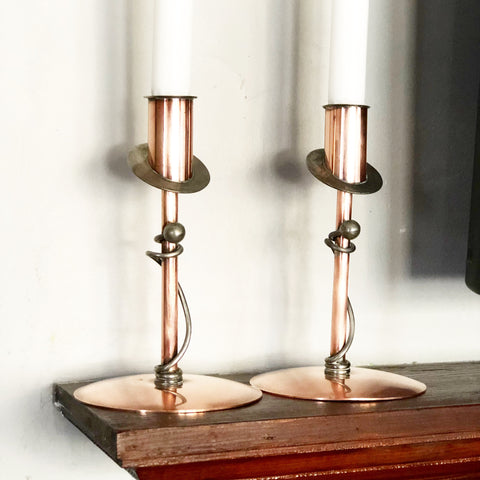 Vintage BP Co Flemish Copper Candlesticks