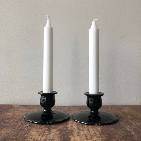 Vintage Black Amethyst Glass Candlesticks