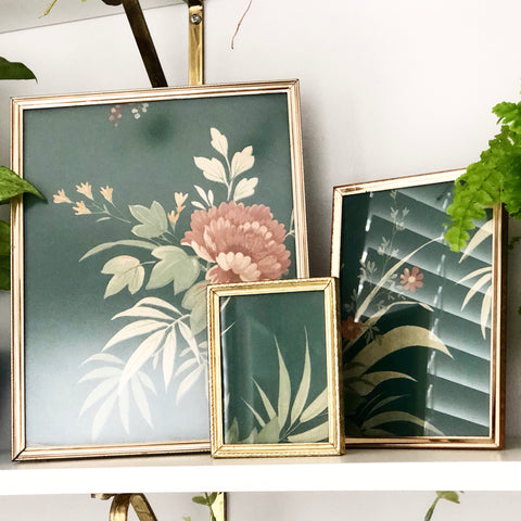 Set of 3 Brass Frames w Vintage Wallpaper