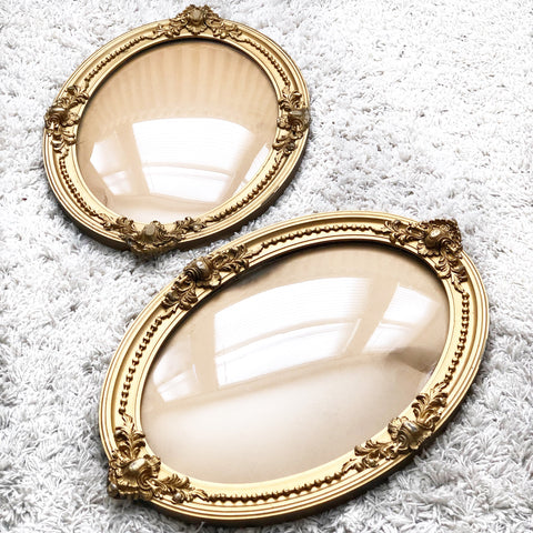 Set of 2 Gold Frames w Rounded Glass