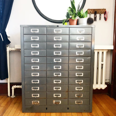 Vintage Metal 33 Drawer Cabinet