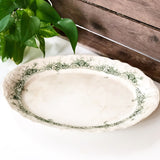 Antique Turkey Platter with Green Floral Design