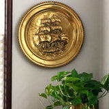 Large Brass Tall Ship Wall Plate