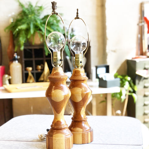 Set of Vintage Hand Carved Wooden Lamps