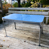 Retro Blue Chrome Dining Table w leaf