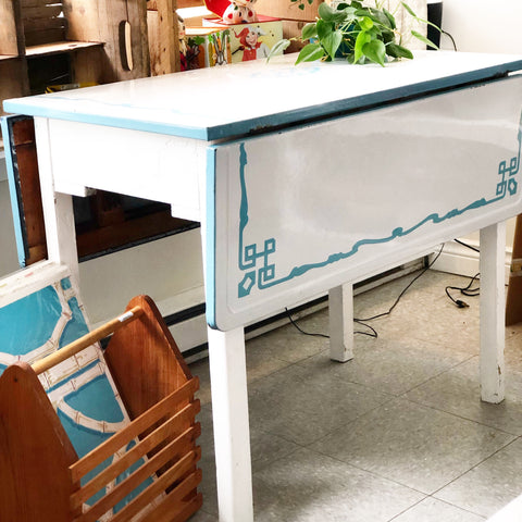 Rare Turquoise and White Enamel Top Table 1930s