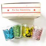 Set of 4 Small Retro Bowling Glasses with Fun Poetry