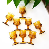 Set of 8 Small Amber Goblets
