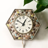 Vintage Mosaic GE Electric Wall Clock 1960s