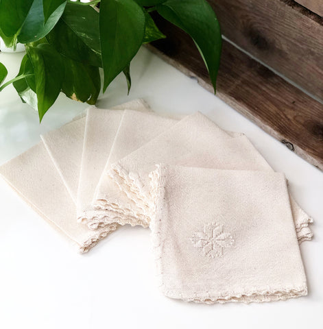 Set of 7 Embroidered Napkins