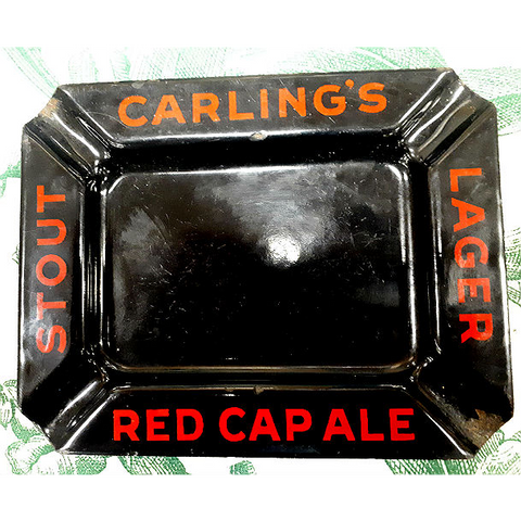 Rare 1940's Black & Red Enamel Carling Breweries Ashtray from Plan B