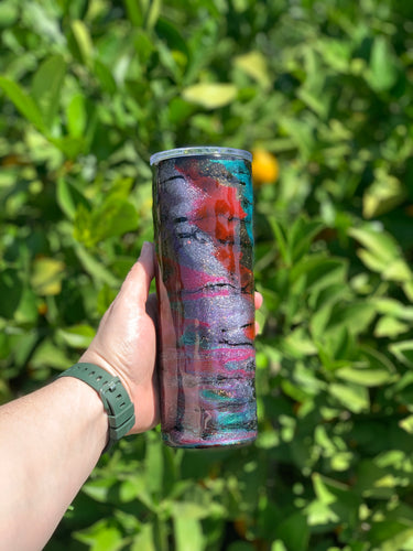 Red & Teal swirl  20 oz