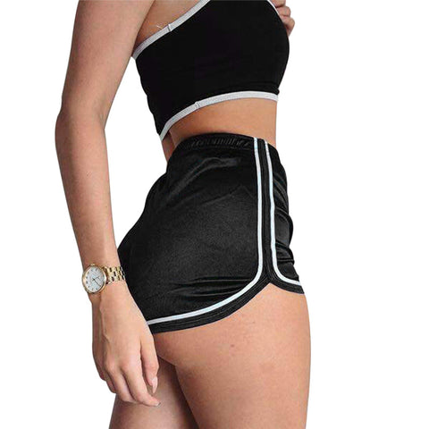 f5785996a22a1f High Waisted Ladies Silk Shorts 2018 Summer Slim Fit Elastic Booty Shorts  For Women Hot Sexy
