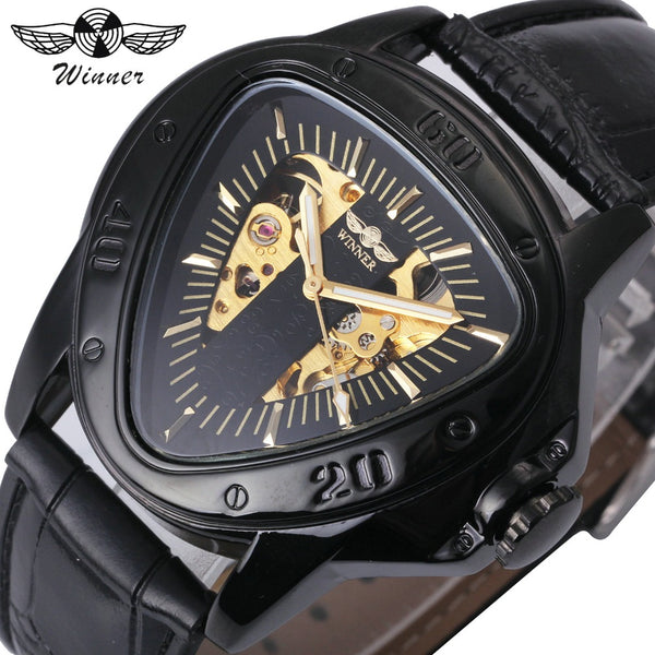 WINNER Automatic Mechanical Men Watch Racing Sports Design Triangle Skeleton Wristwatch Top Brand Luxury Golden Black + Gift Box - Kinggz