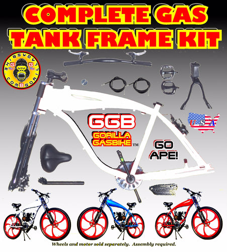 2.4 L WHITE ALUMINUM GAS TANK FRAME KIT FOR 2-STROKE 4-STROKE 48CC/66CC/80CC MOTORIZED BIKES